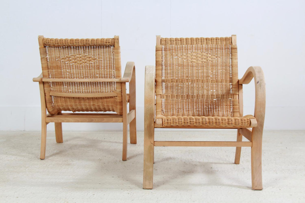 Midcentury Rattan  Lounge Chairs with Woven Seating