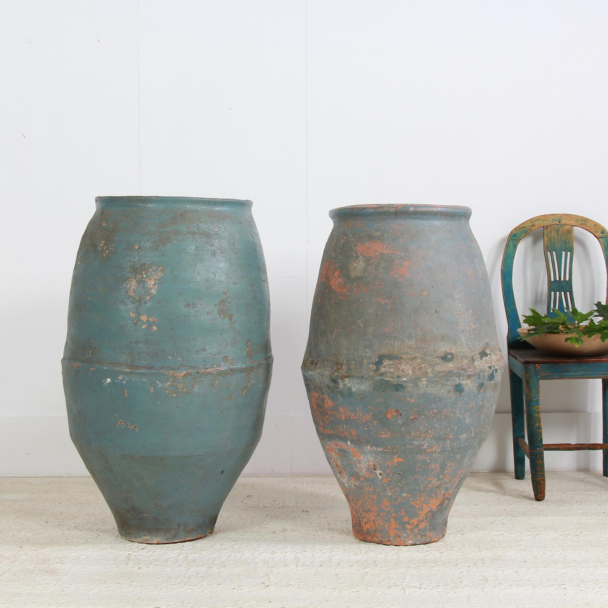 Large 19thC Mediterranean Olive Jars in Original Blue Patina