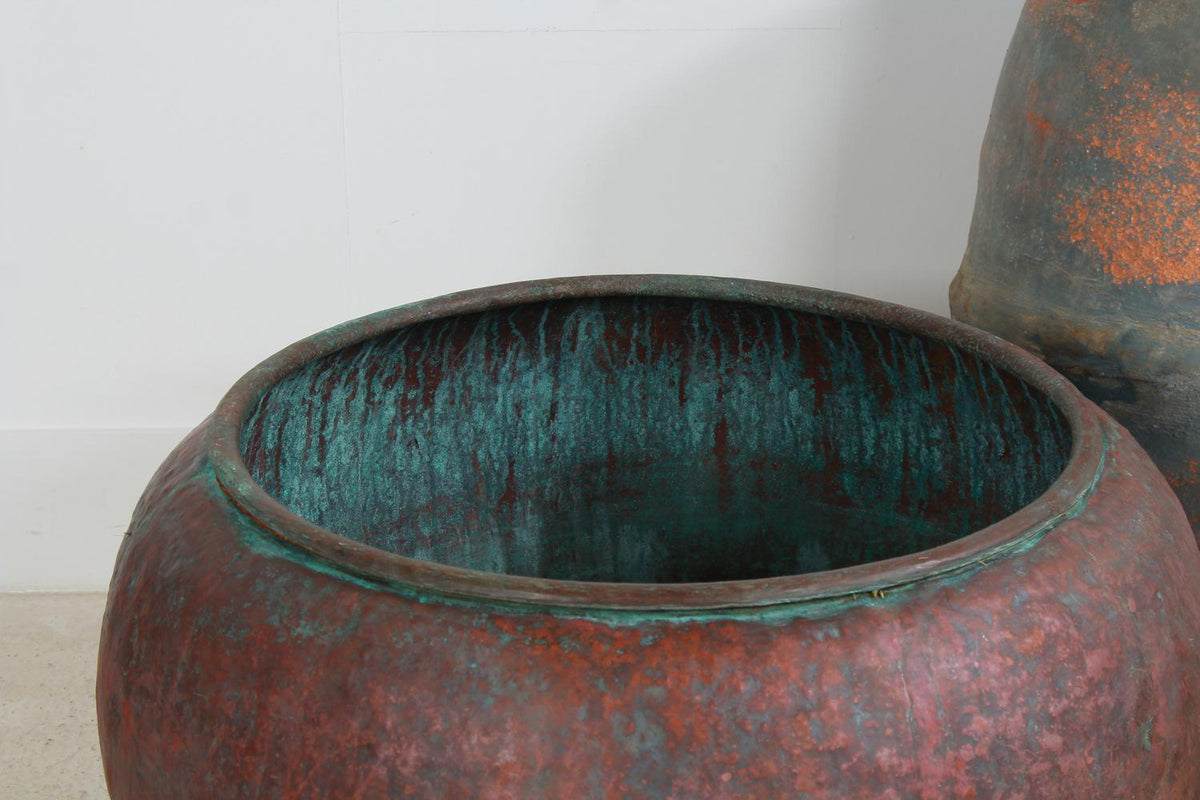 Huge 19thC French Copper Cheese Vat Planter