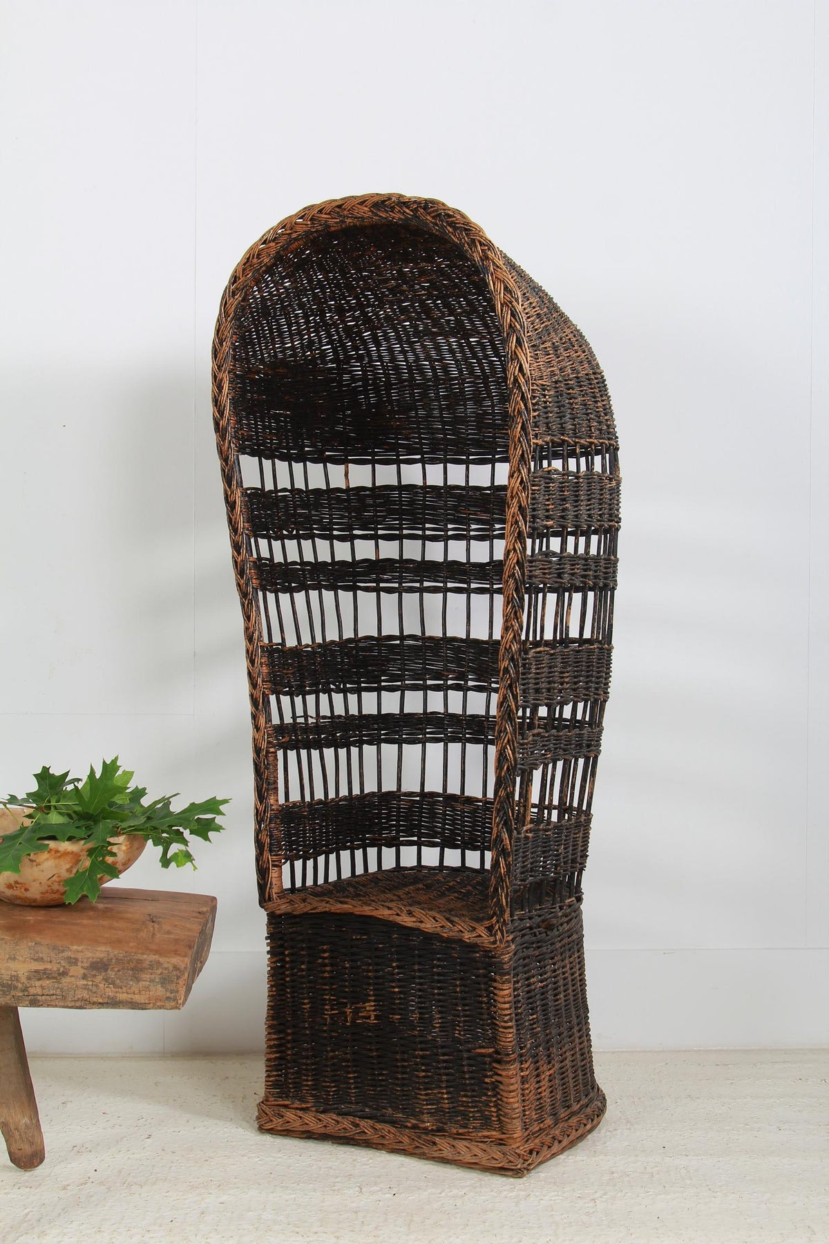 Unusual English Hooded Canopy Wicker Porters Chair