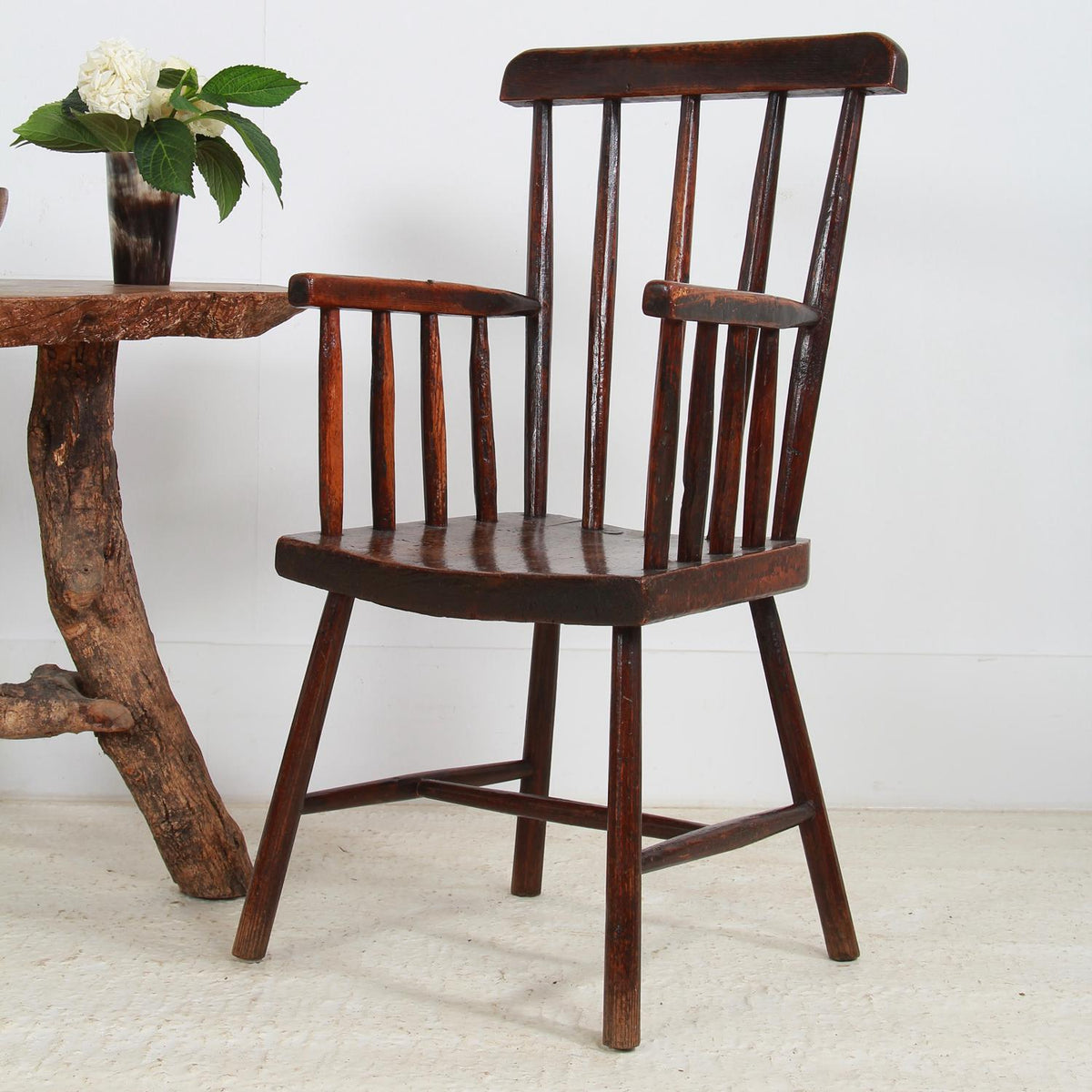 Primitive Welsh 19thC  Stick Back Armchair.