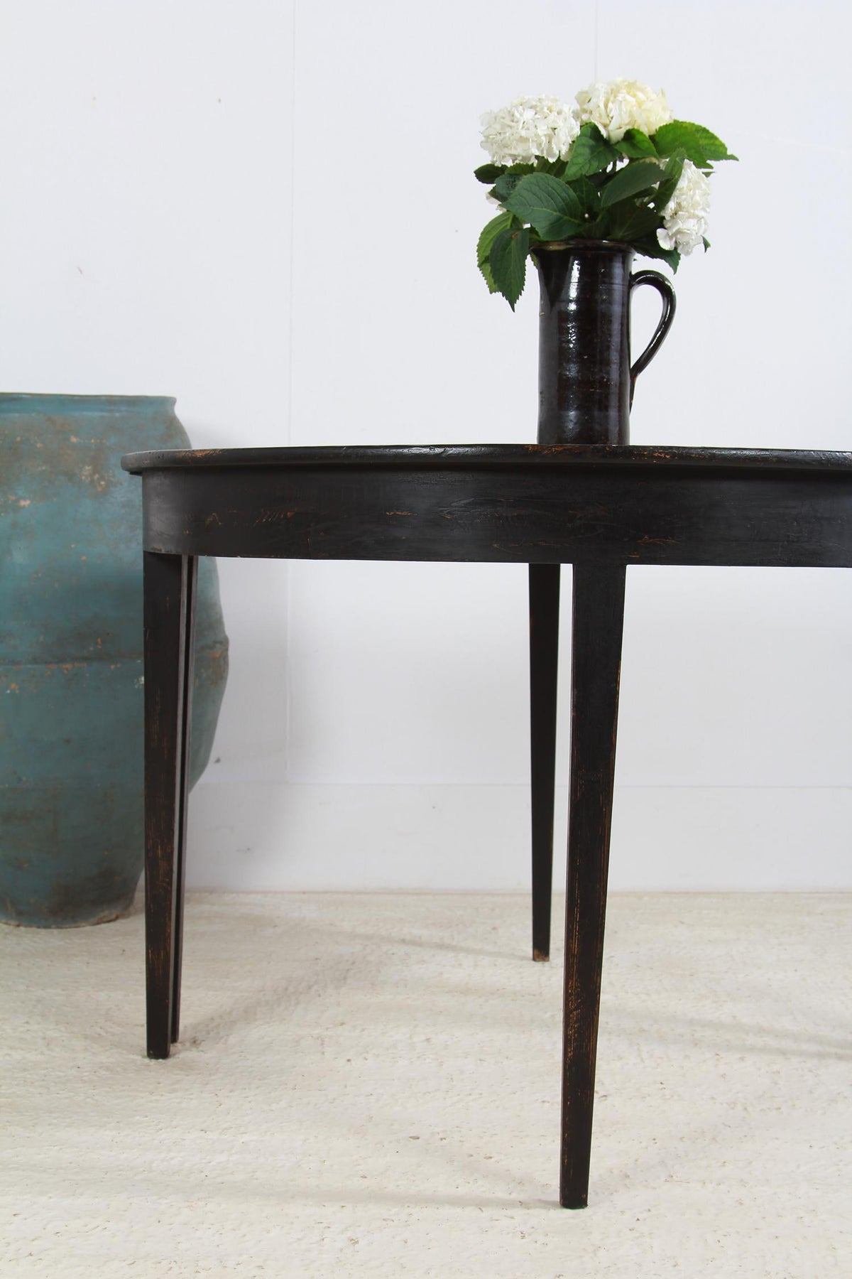 Pair 19th Century Antique Swedish Painted Demi Lune Side Tables