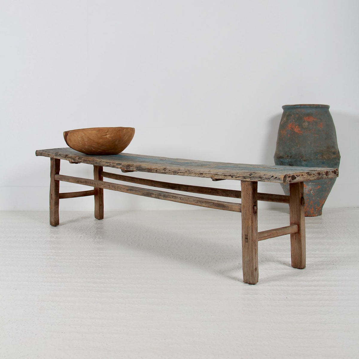 Large 19th Century Chinese   Bench in the Original Blue  Patina