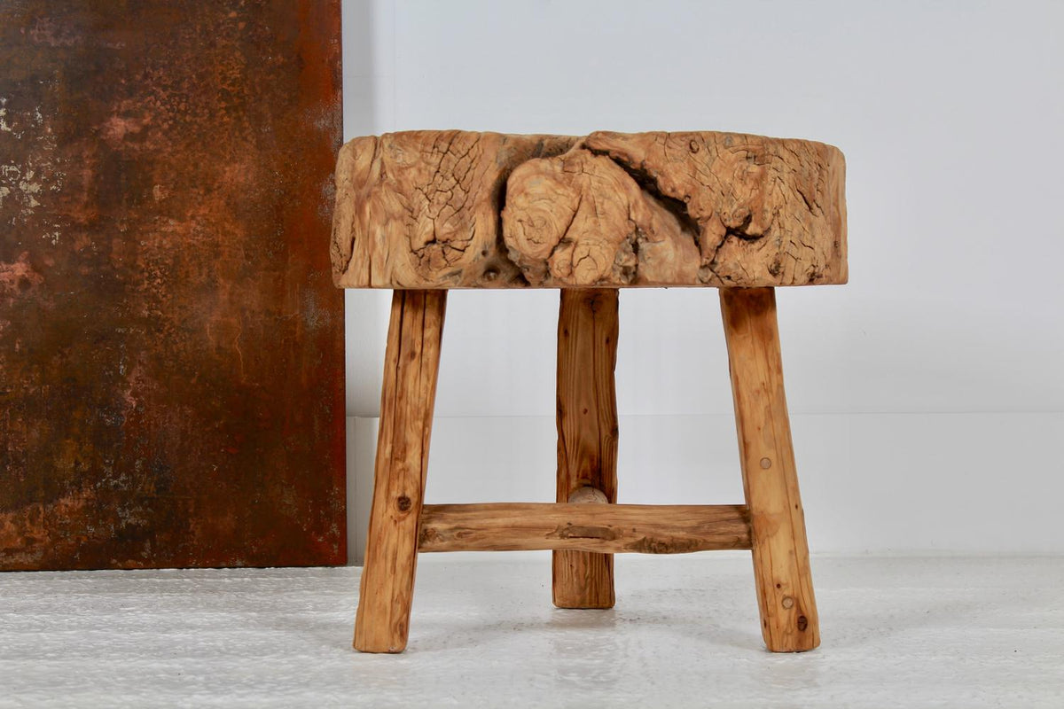Organically Shaped Rustic Butcher Block Table/Stool