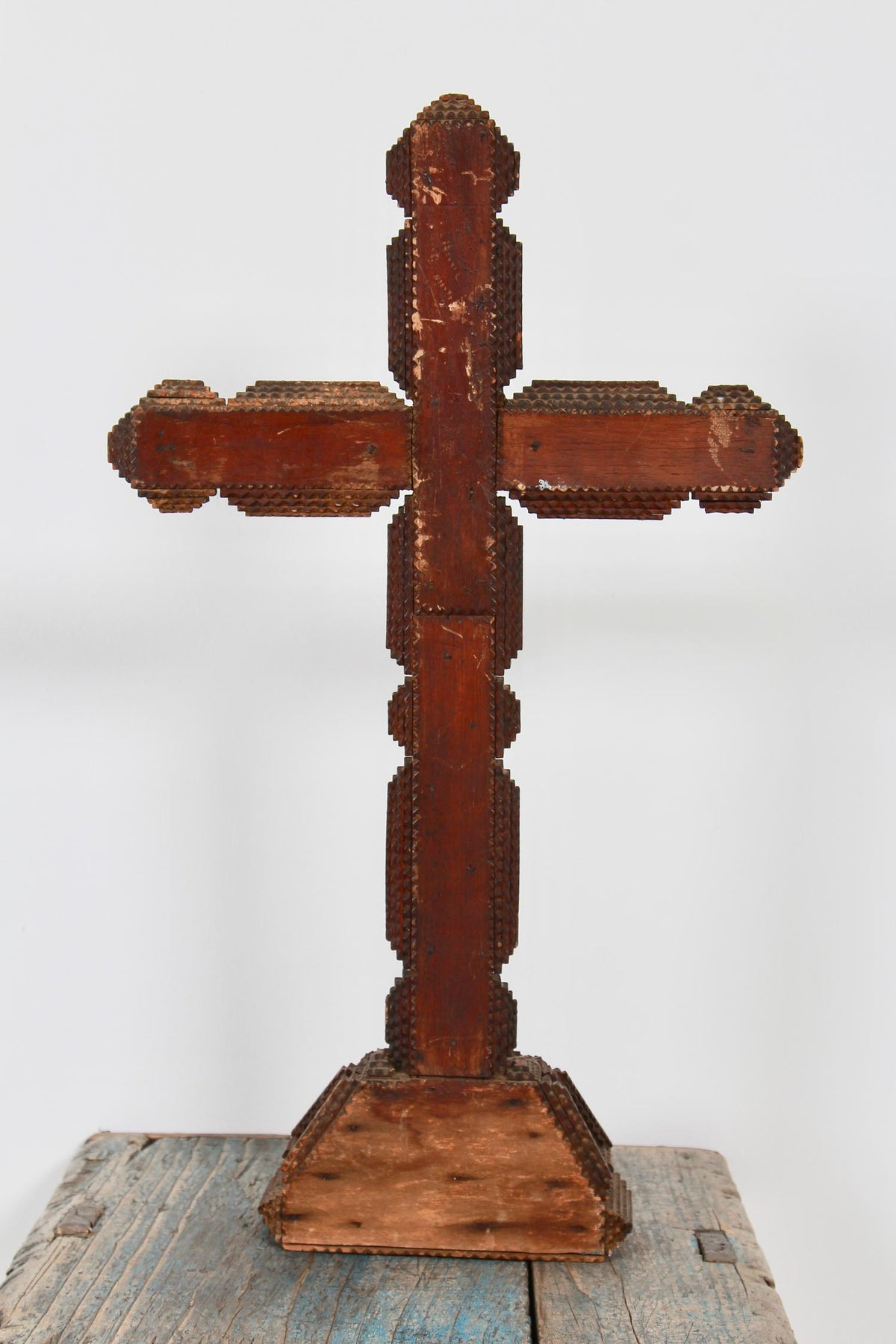 Large Continental Tramp Art Crucifix