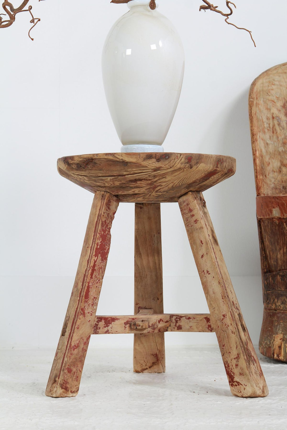Primitive Chinese BUTCHER BLOCK TABLE/STOOL
