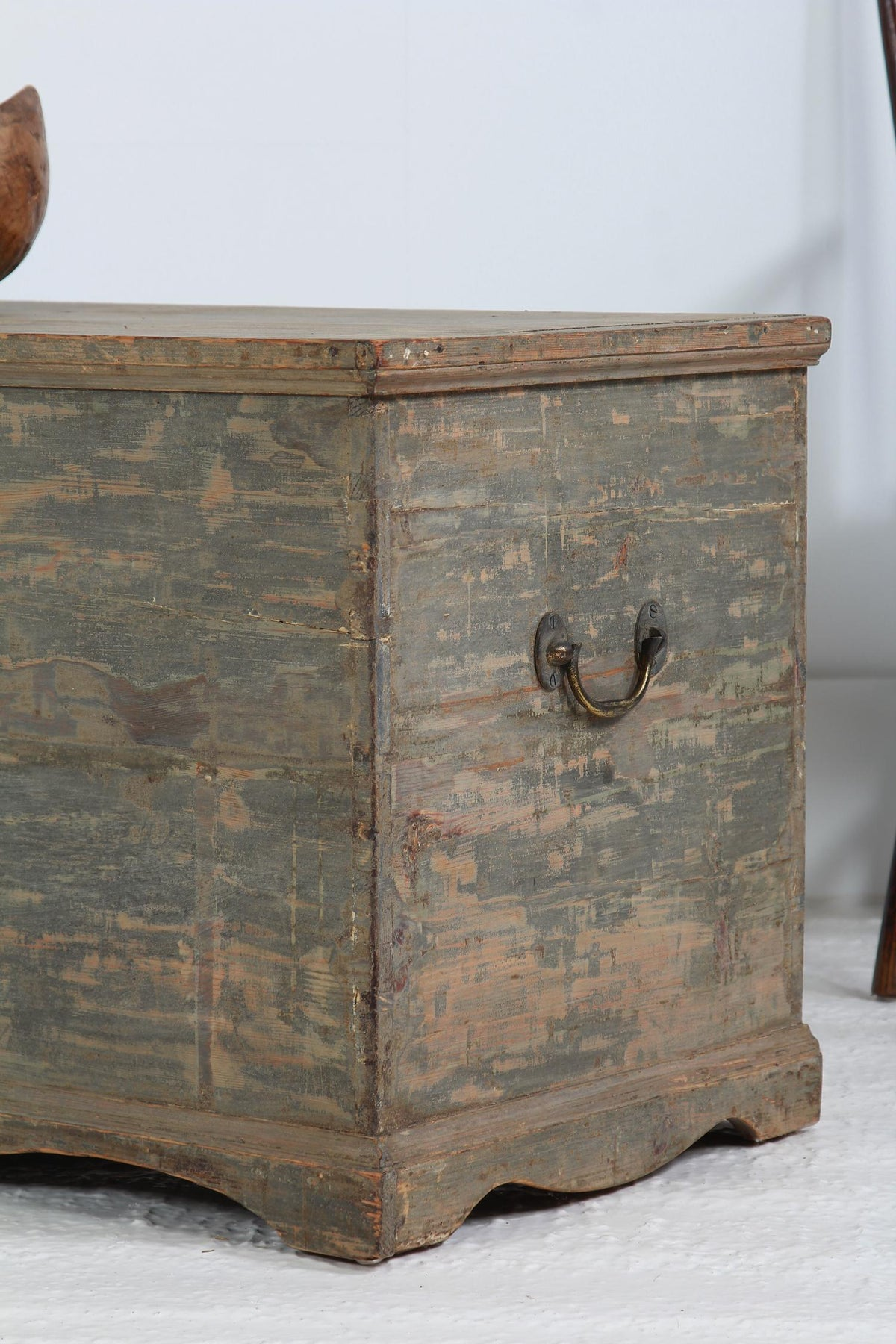 English Early 19thC Painted Pine Trunk