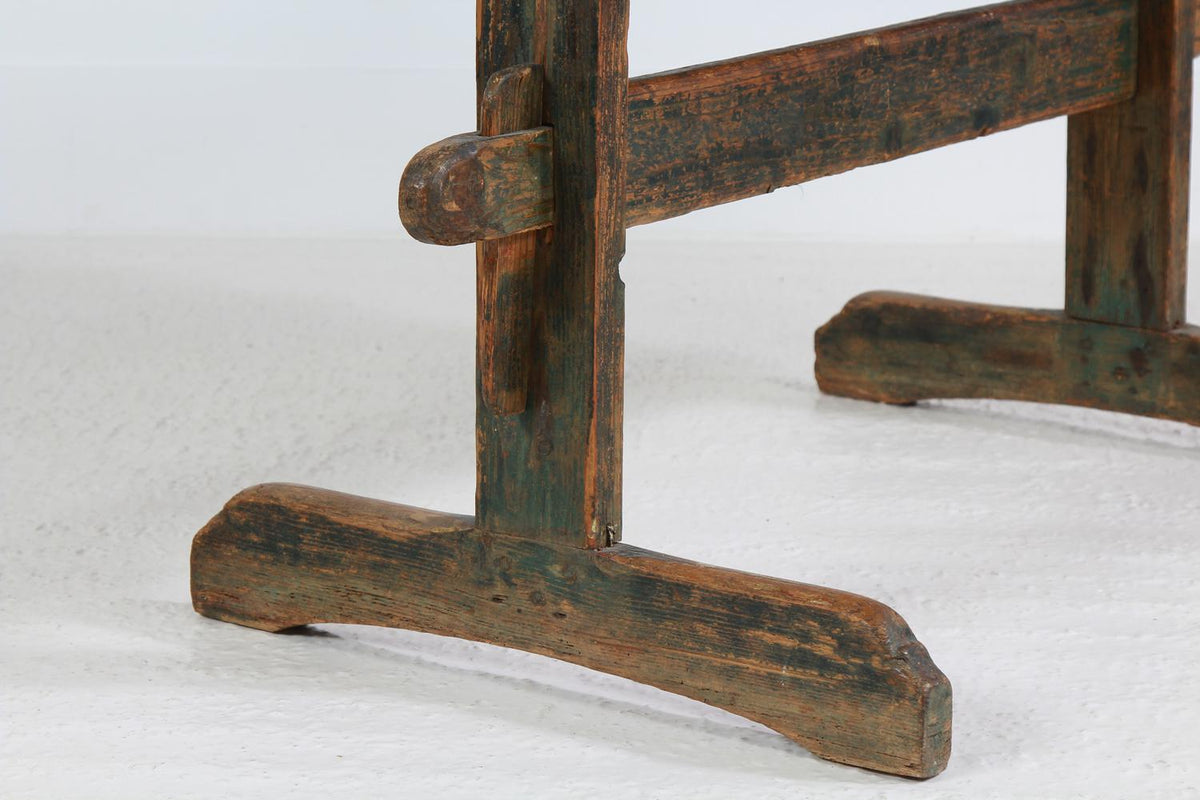 Rustic Swedish 19thC Provincial Trestle Dining Table