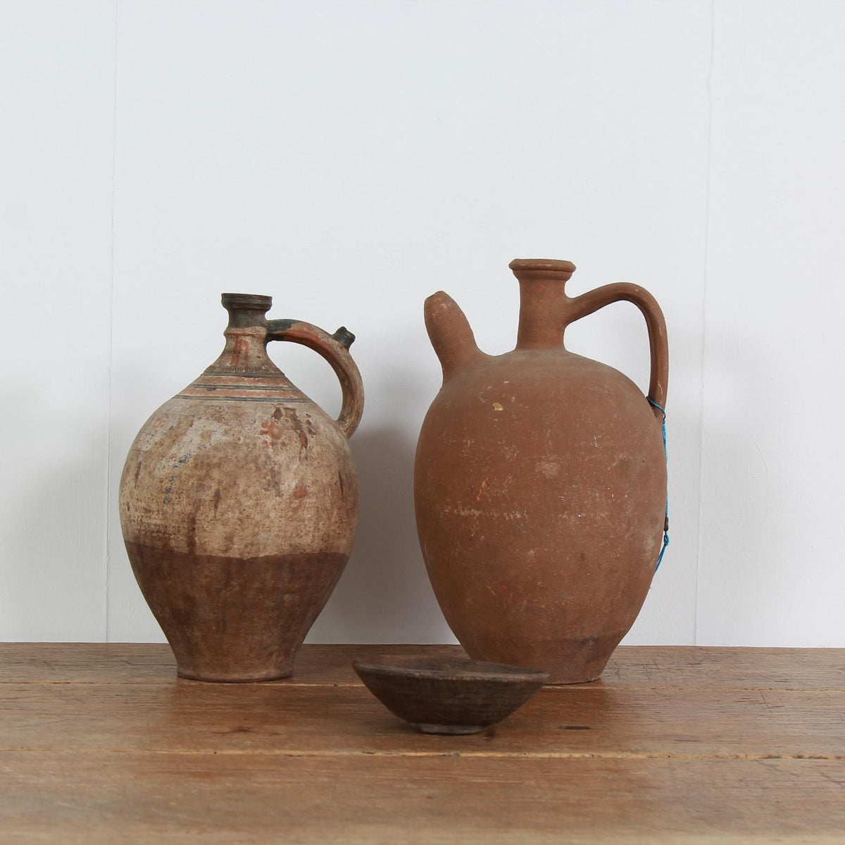 Mediterranean 19th Century Terracotta Olive Oil Jugs