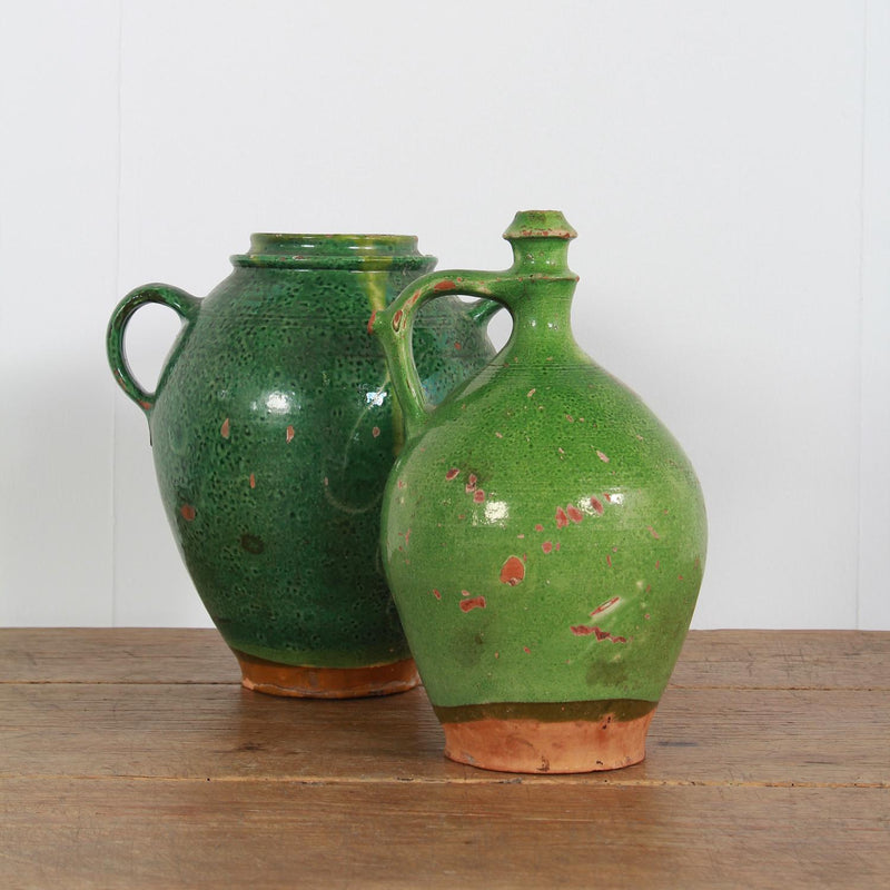 A Selection of French Green Glazed  Earthenware Pots
