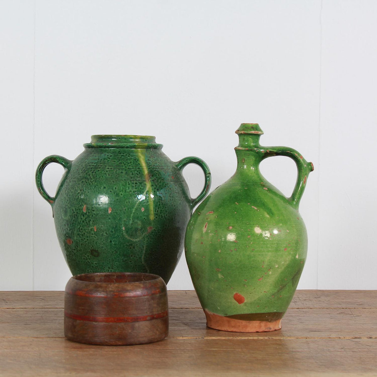French 19thC Green Glazed  Earthenware Pots