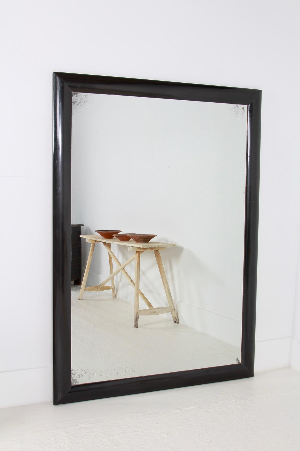 Enormous English 19thC Burnished  Ebonised Mirror
