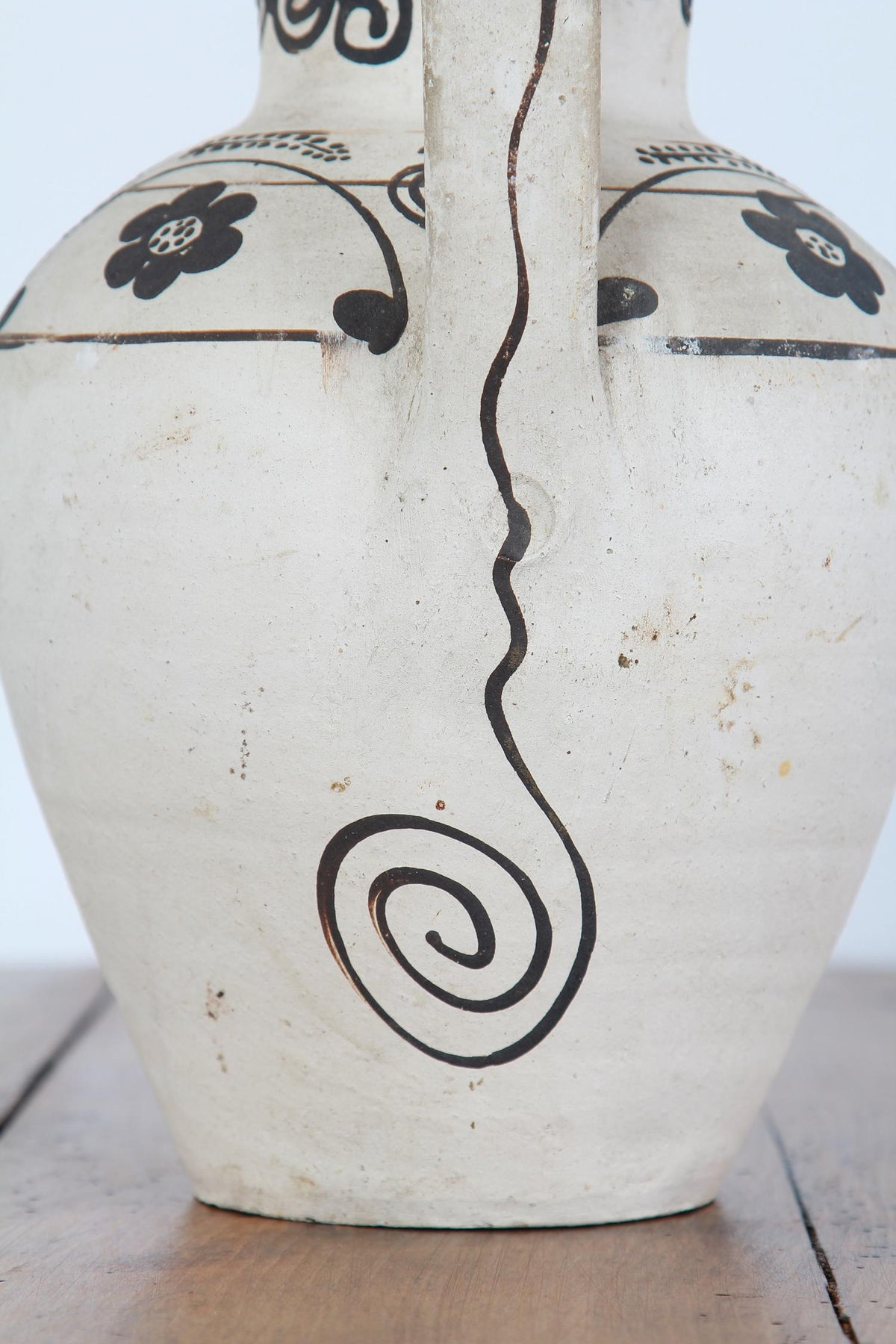 Two Unusual Black On White Abstract Greek Pots