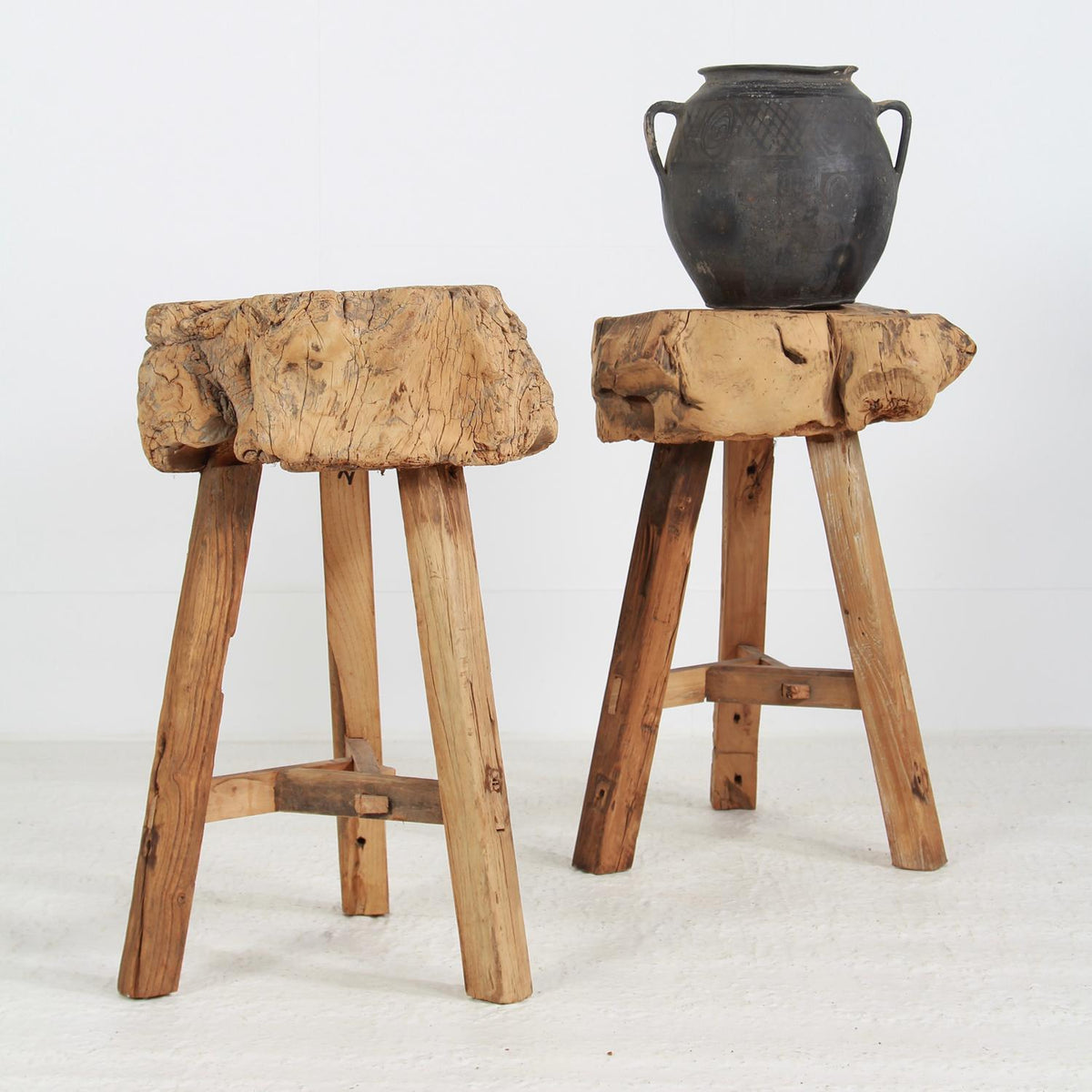 Two Rustic Chinese Gnarly Butchers Block Tables