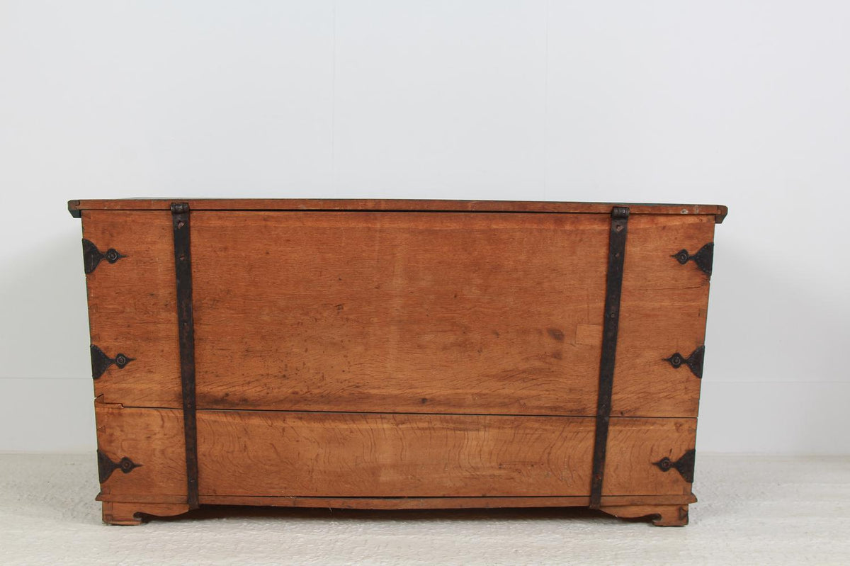 Exceptional Swedish Oak Marraige Trunk Monogrammed and Dated 1854