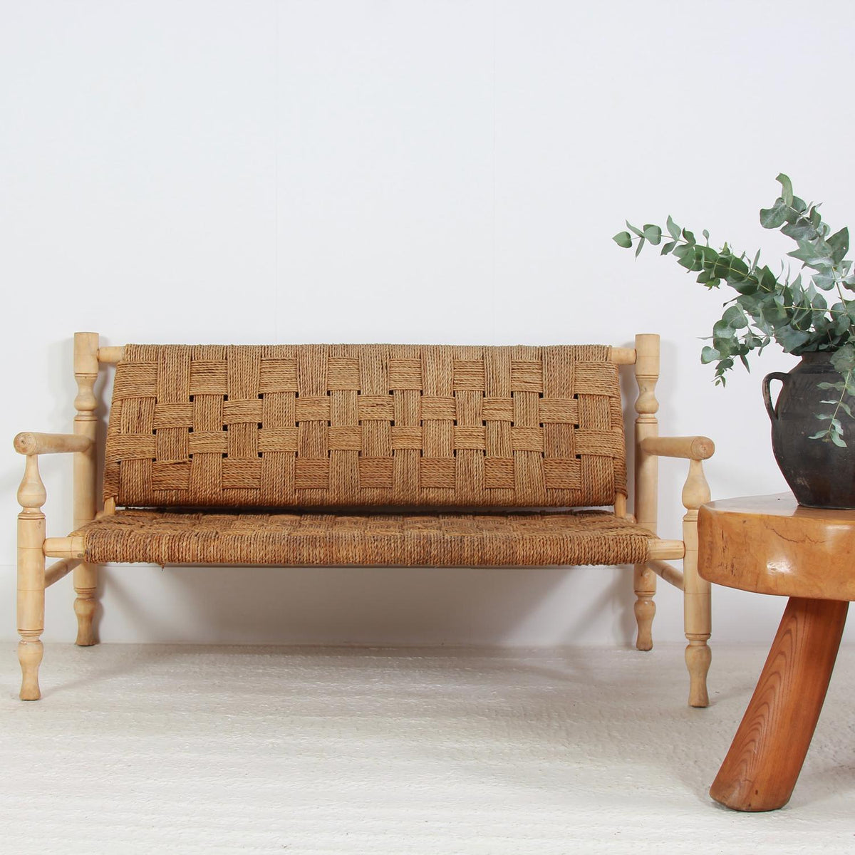 French Mid-Century Rope Sofa in the Style of Adrian & Frida Audoux-Minet.