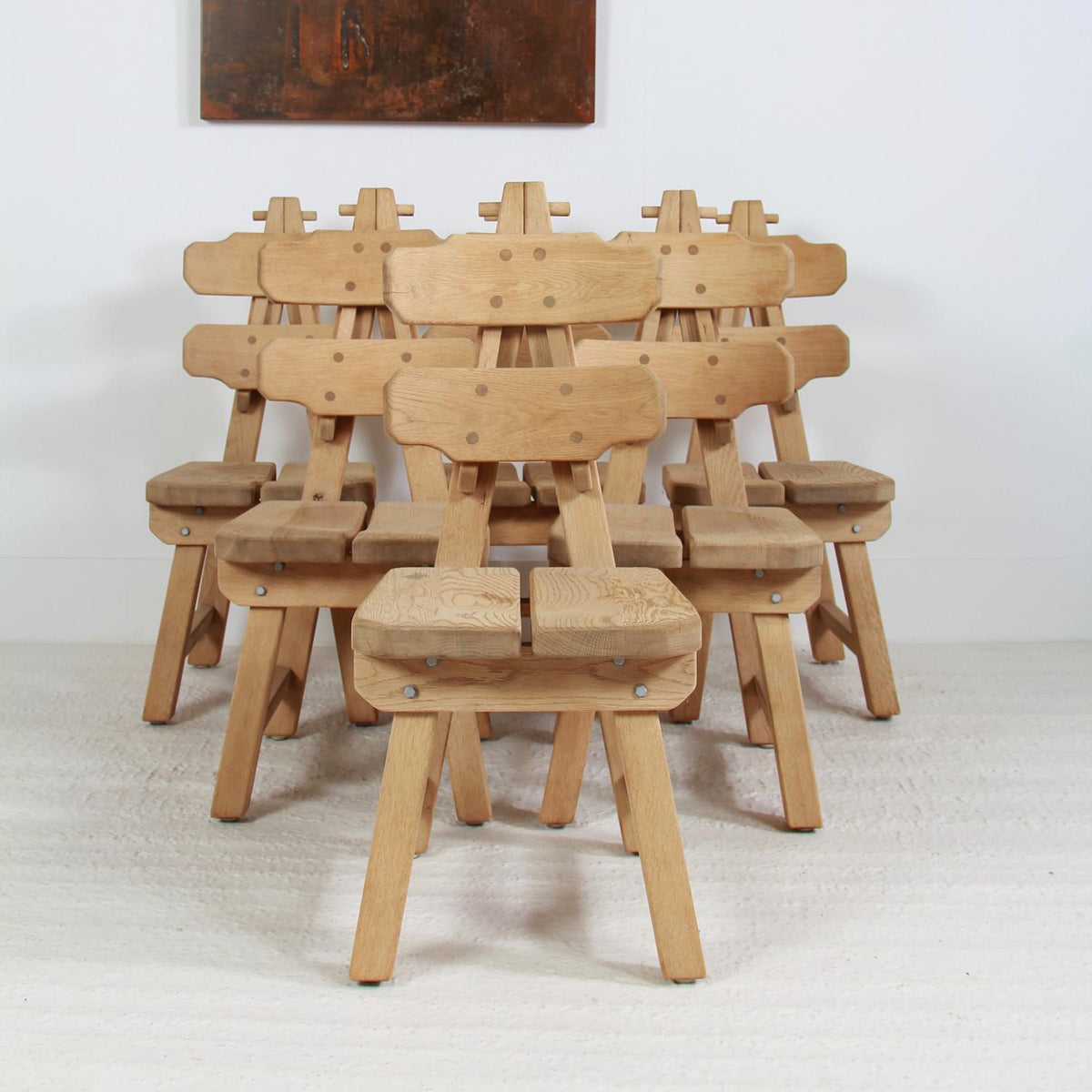 Set of Six Brutalist Spanish Oak Mid Century Dining Chairs