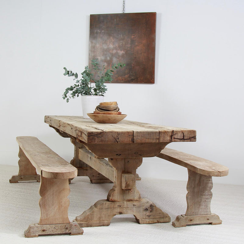 Gnarly French 19thC Oak Dining Table With Trestle Benches