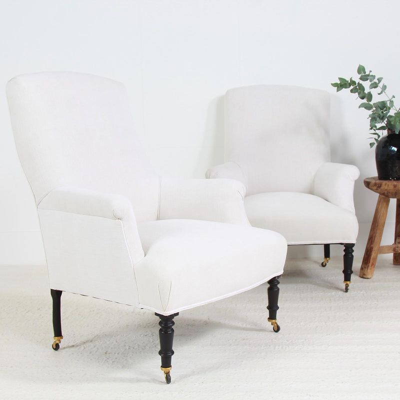 Pair of French Napoleon III Armchairs in Antique Linen