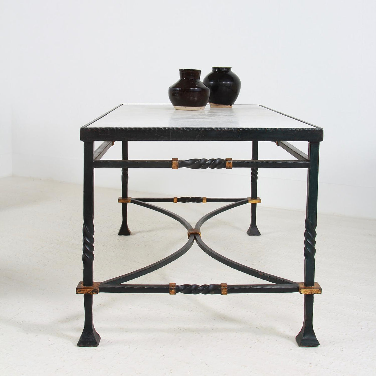 Outstanding French 19thC  Iron and Marble Top Console/Center Table