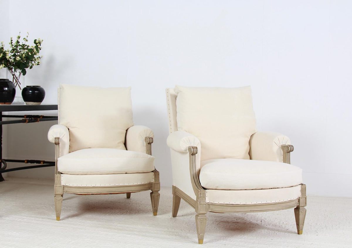 Superb Pair of French Late 19thC Bergére Armchairs