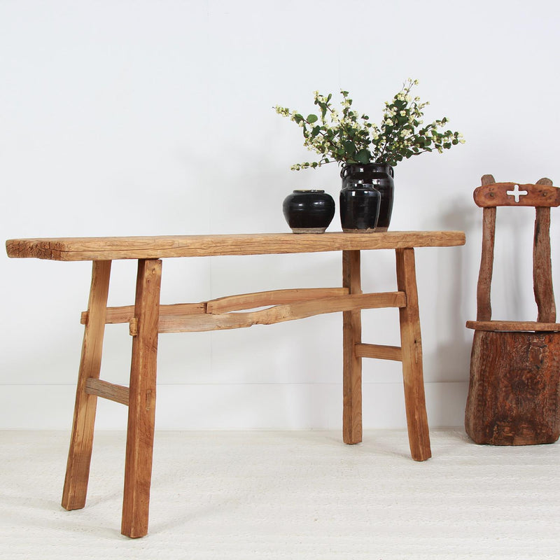 Rustic Organic Elm Console Trestle  Table
