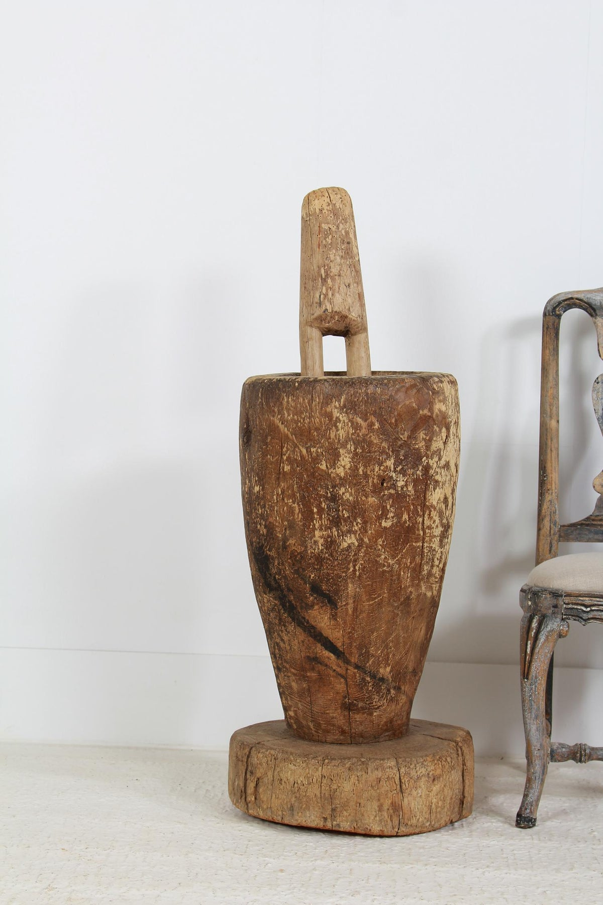 Huge Antique Oversized Wooden Pestle and Mortar