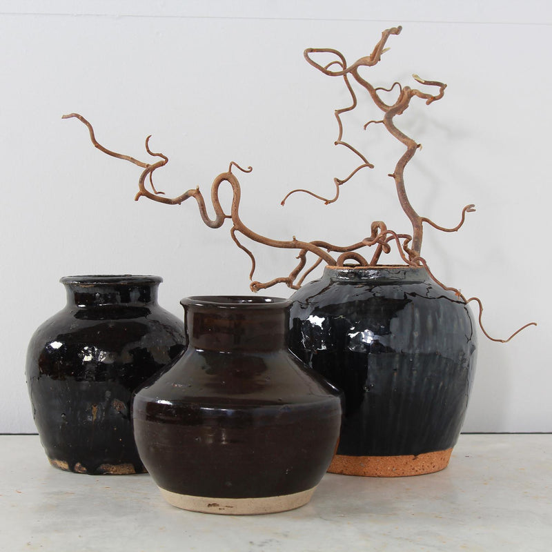 Three Handmade Chinese  Black Glazed Pottery Jars