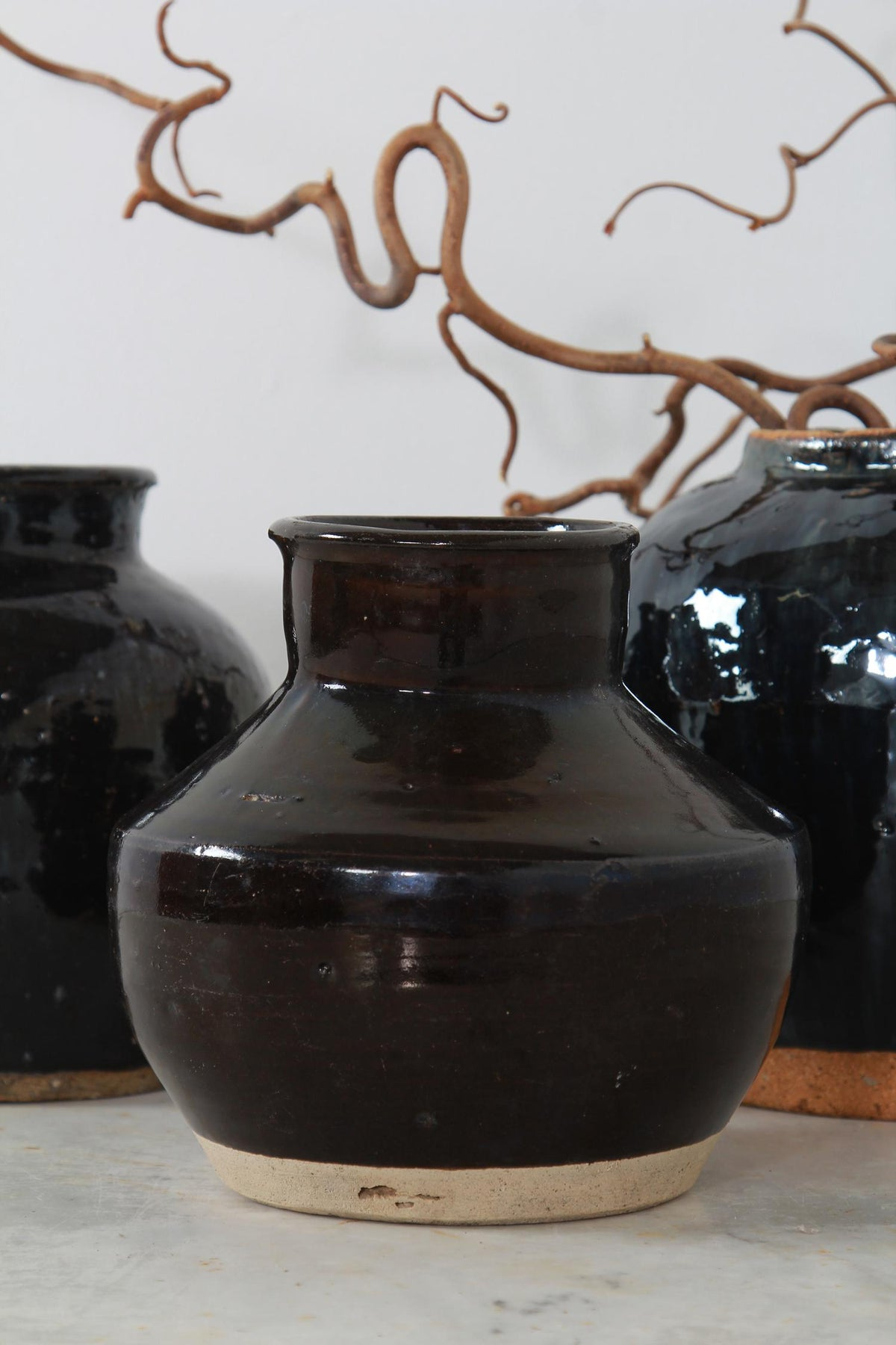 Handmade Chinese  Black Glazed Pottery Jars