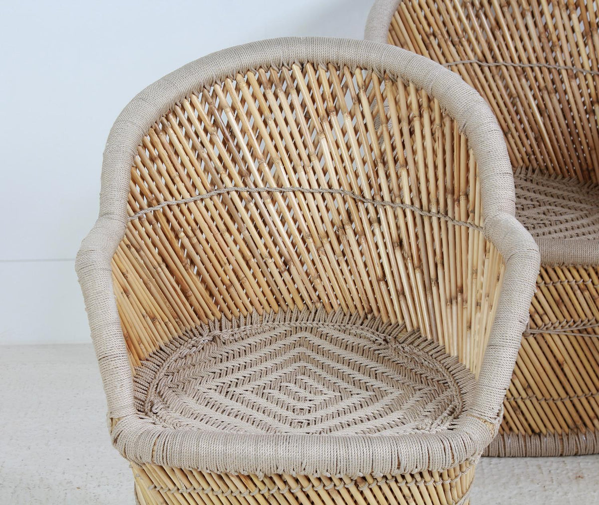 Pair of Natural Bamboo Chairs with Woven seats