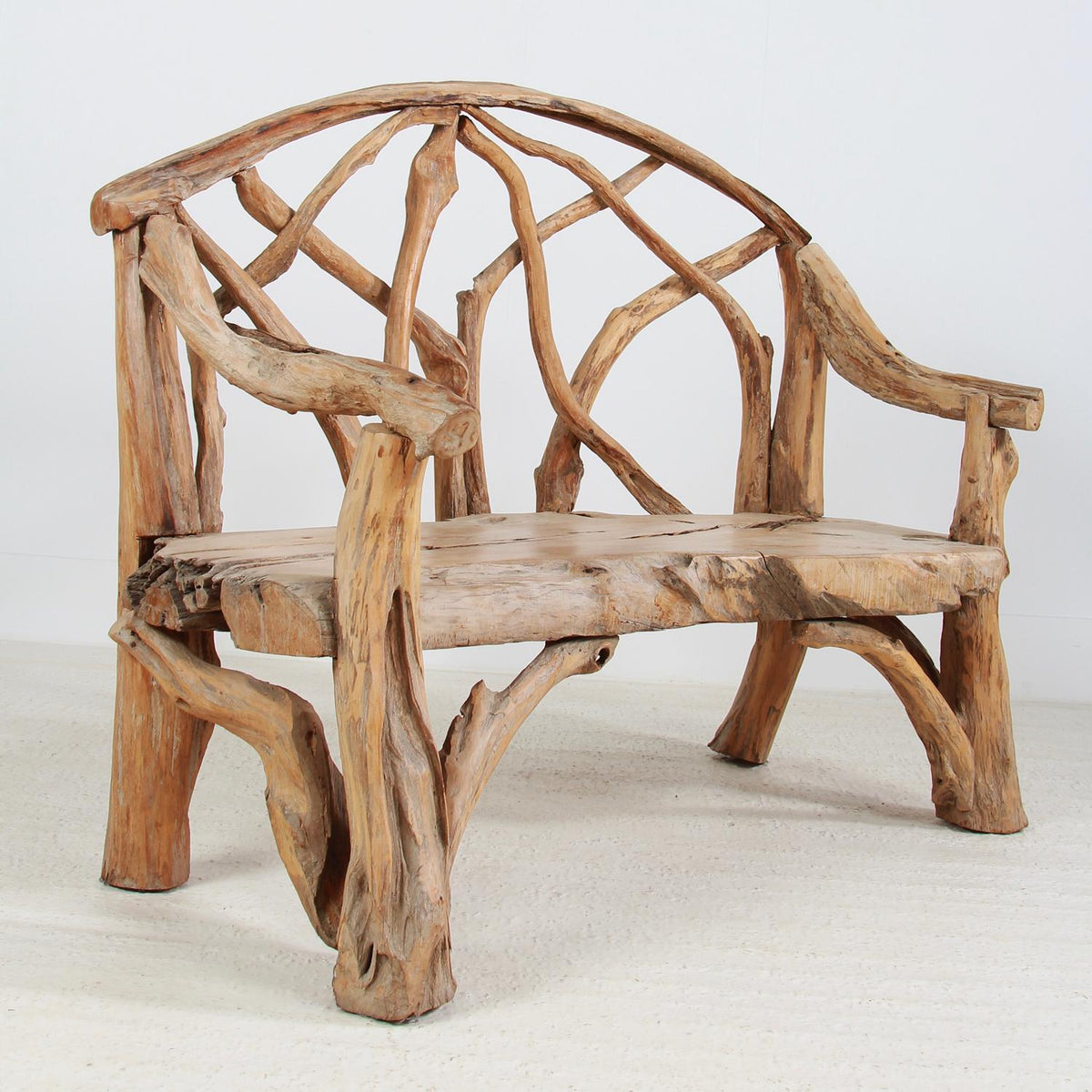 Enormous Sculptural Teak Root Garden Bench