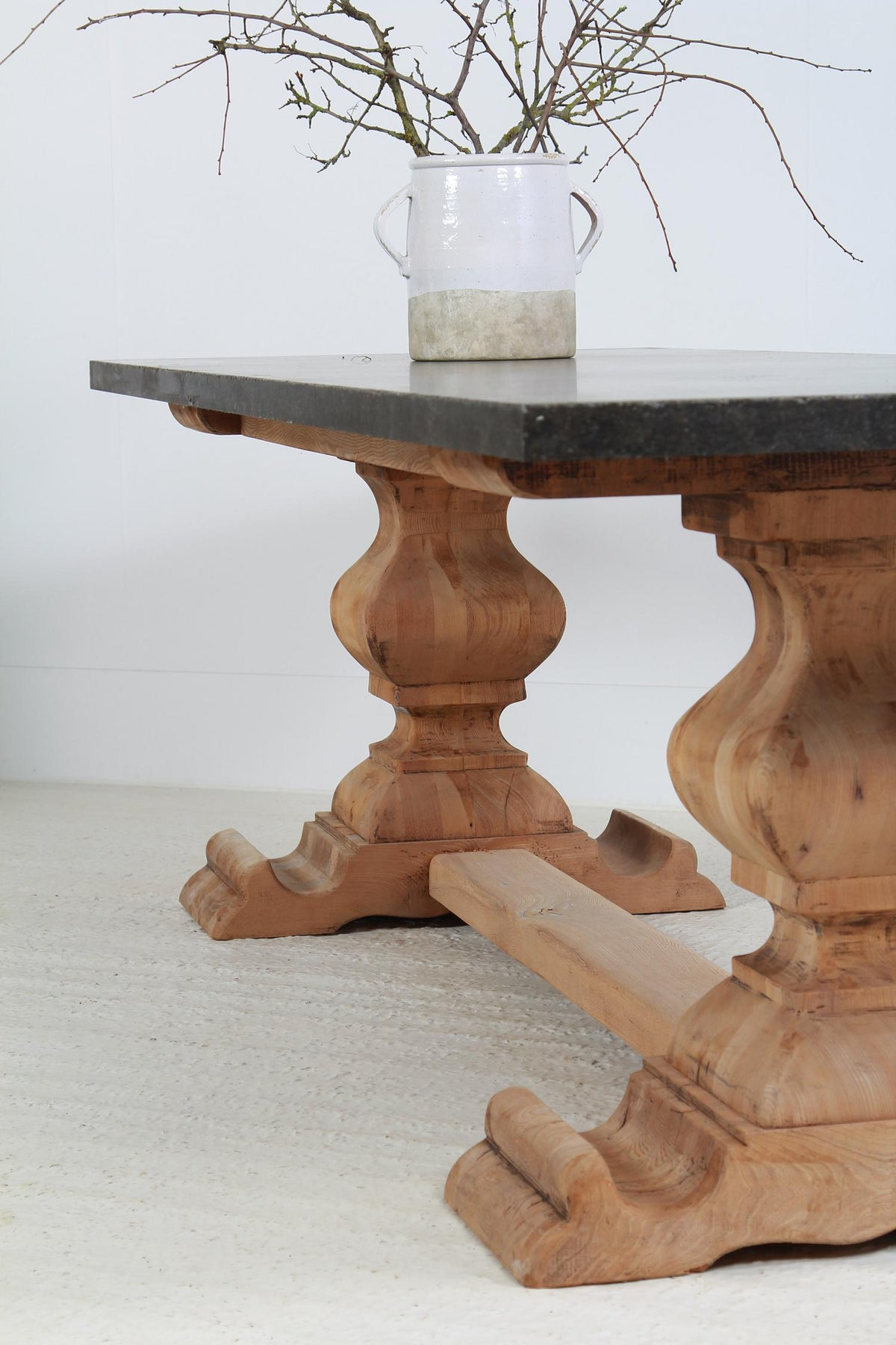 Magnificent Belgian Bluestone and Oak Dining Table