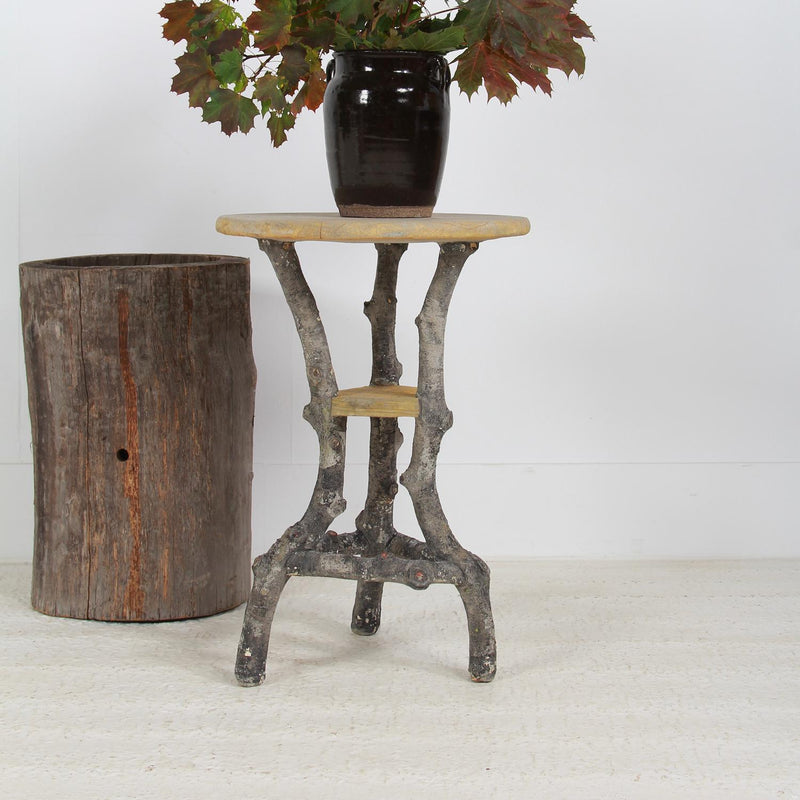 Wonderful French Round Faux Bois Garden Table
