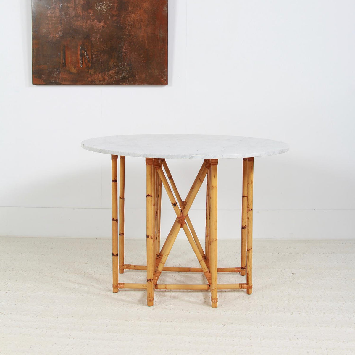 Unique French  Parisienne 20thC Cane & Marble Table