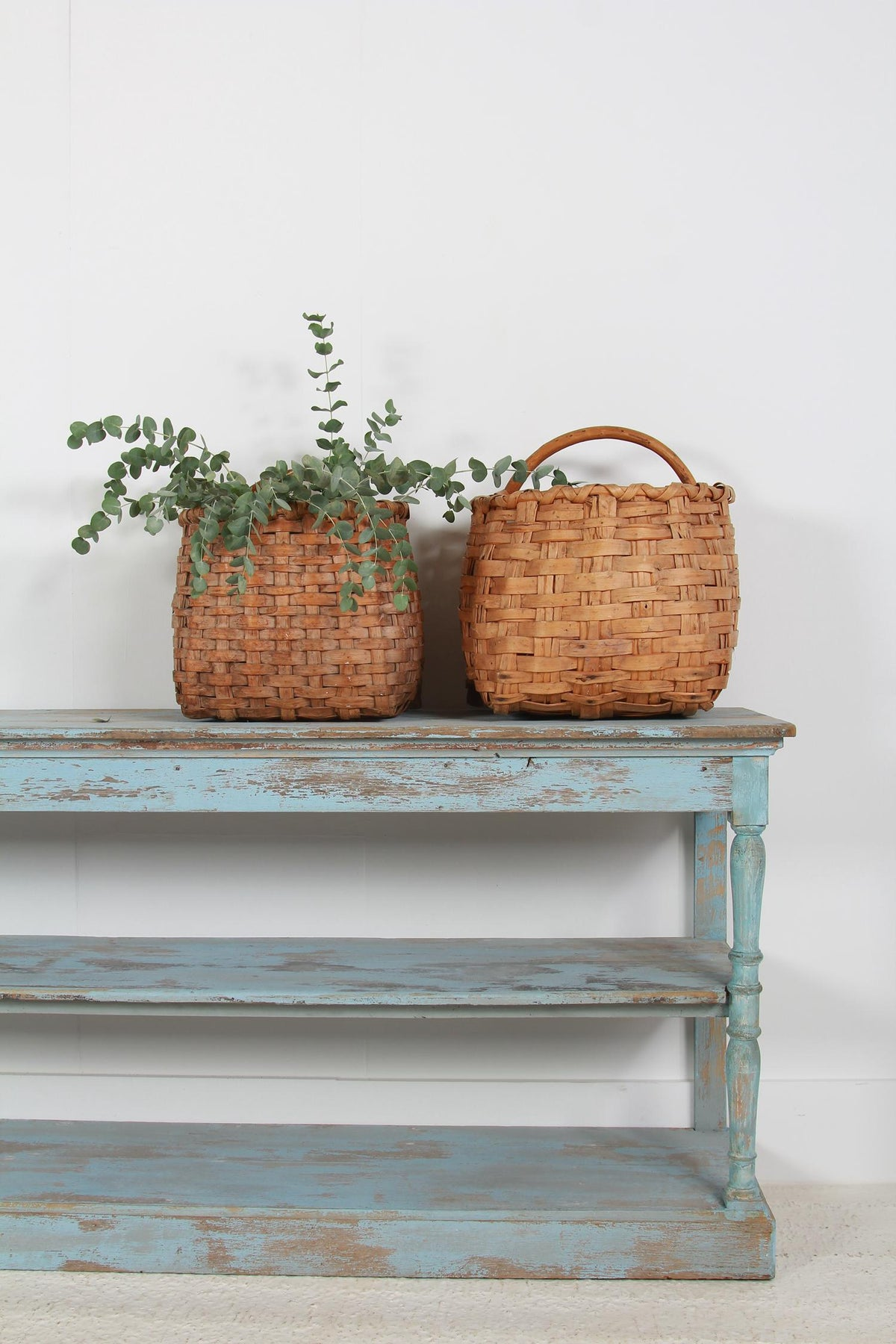 Superbly Crafted Swedish 19thC  Splint Woven Berry Baskets