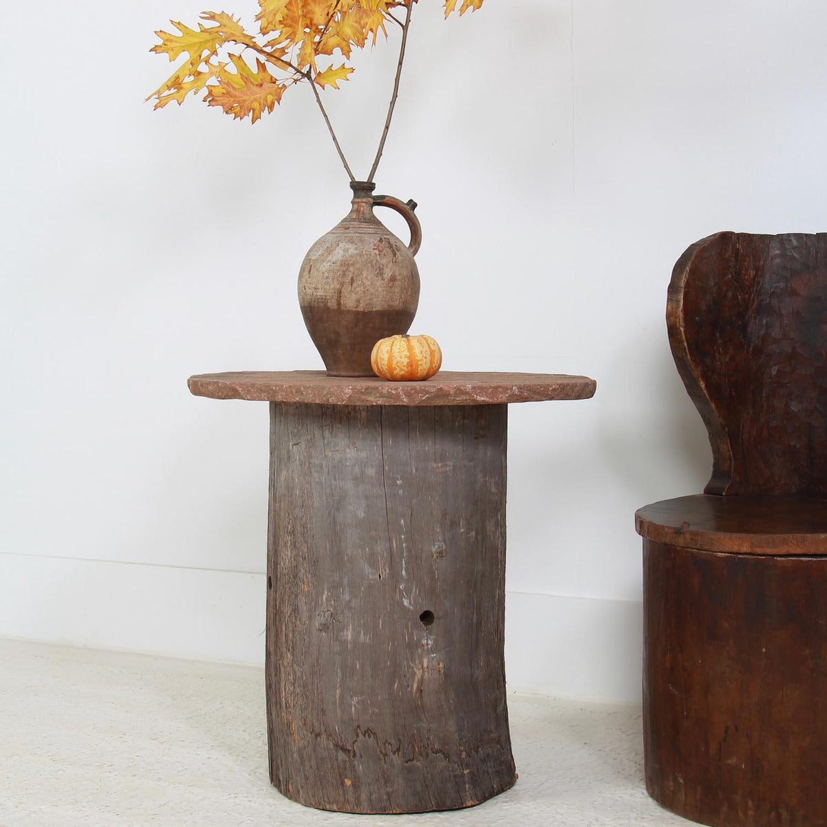 SCULPTURAL 19THC TREE TRUNK  & STONE  LAMP TABLE