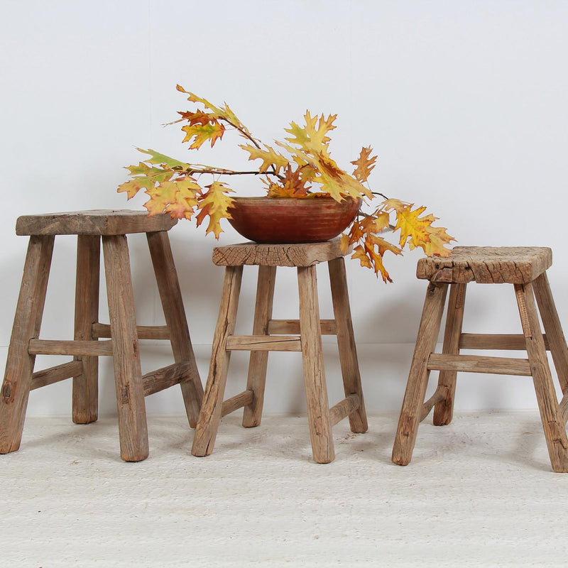 THREE RUSTIC CHINESE WORKERS STOOLs or Tables