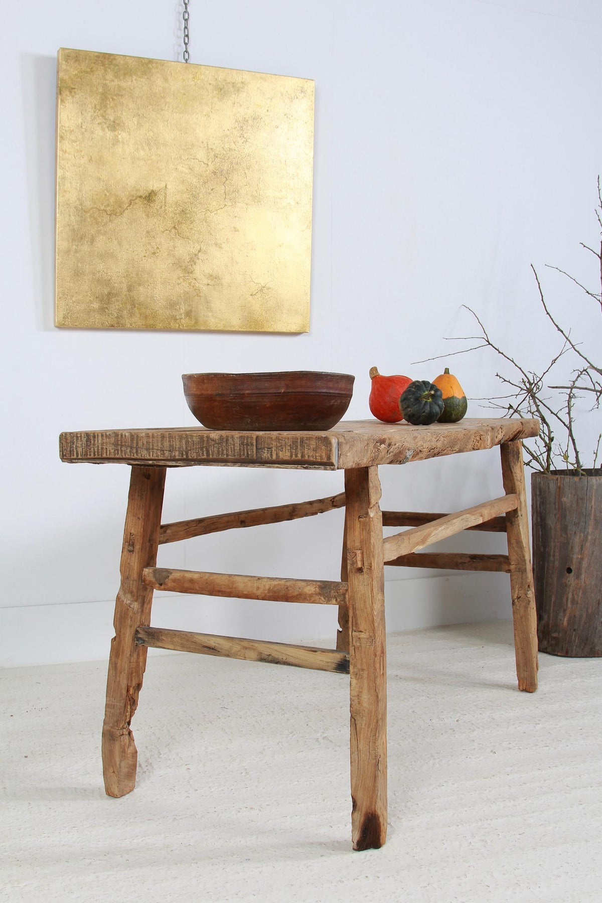 Large Rustic Organic Elm Console Trestle Table