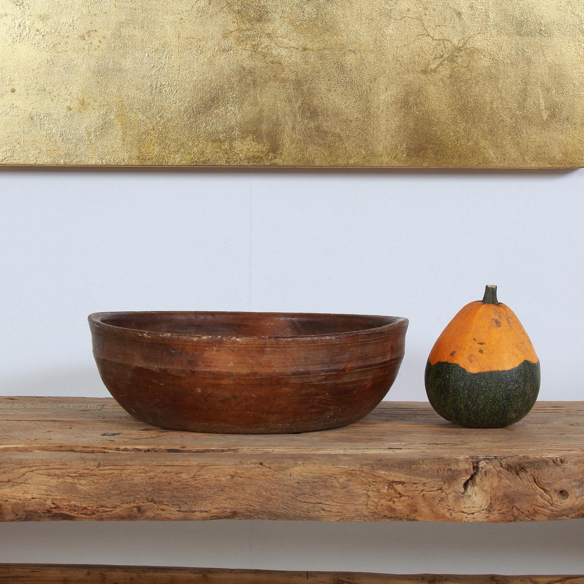 Early 19th Century Swedish Wooden  Turned Bowl in Original Condition