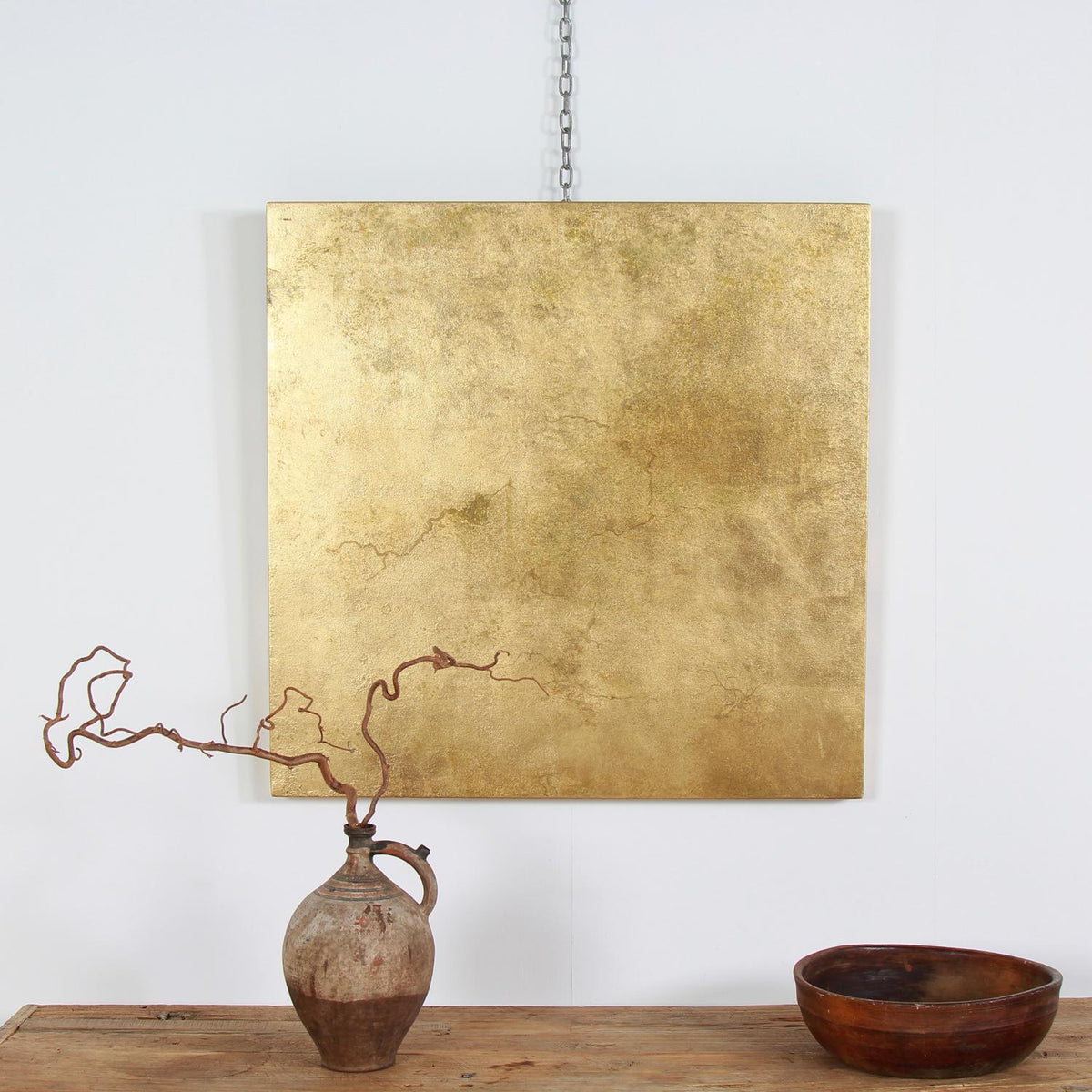 Decorative Aged Gold Leaf Metal Art Wall Panel