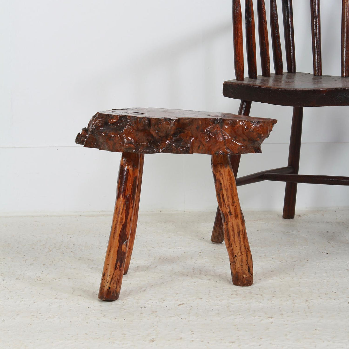 UNIQUE PETRIFIED GNARLY WOOD SIDE TABLE