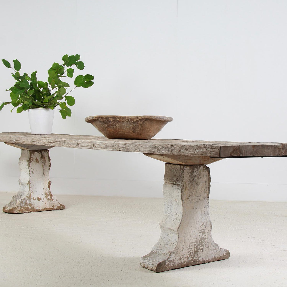 Monumental & Architectual French Carved Stone and Weathered Teak Dining Table