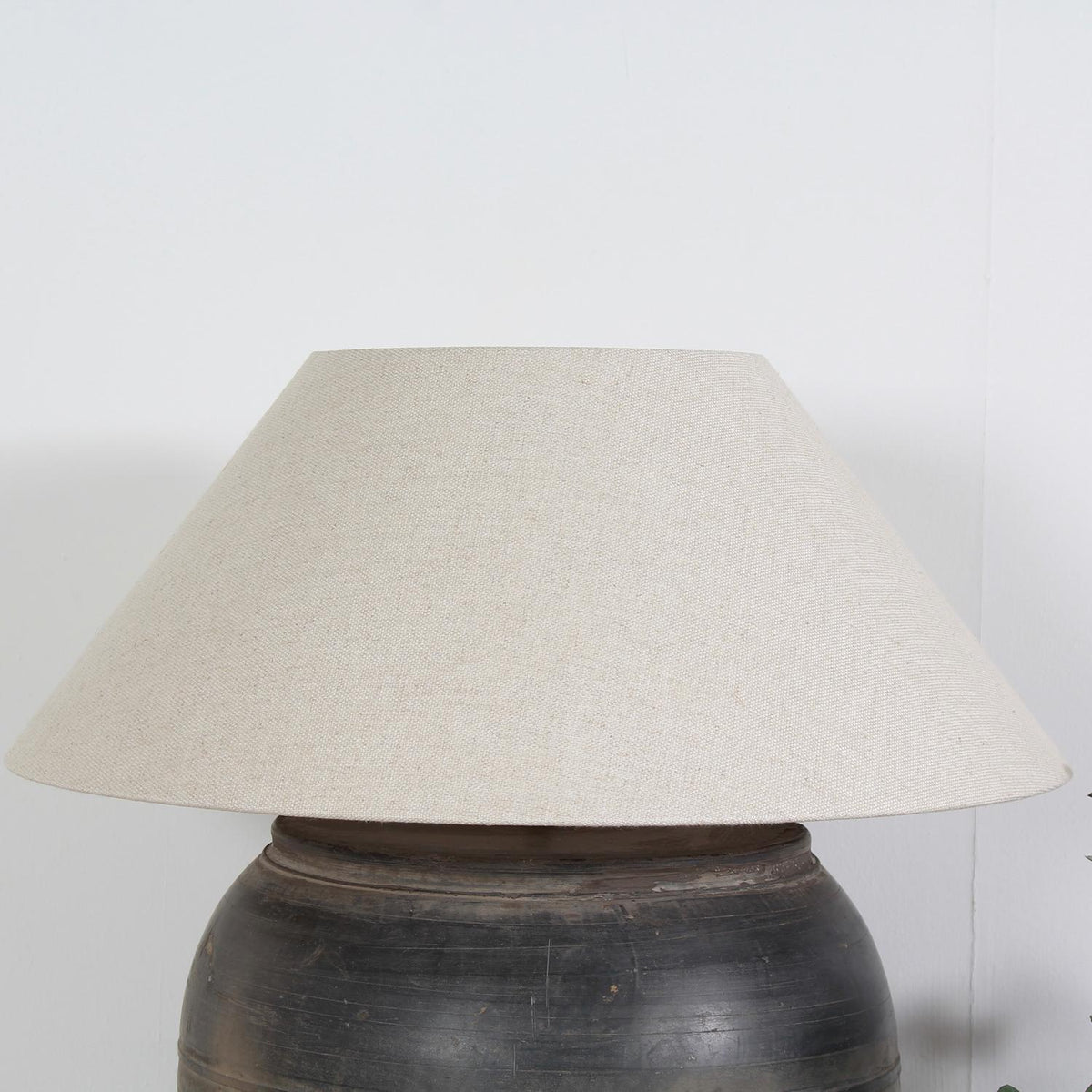 Enormous Chinese Storage Jar Lamp with Belgium Linen Shade