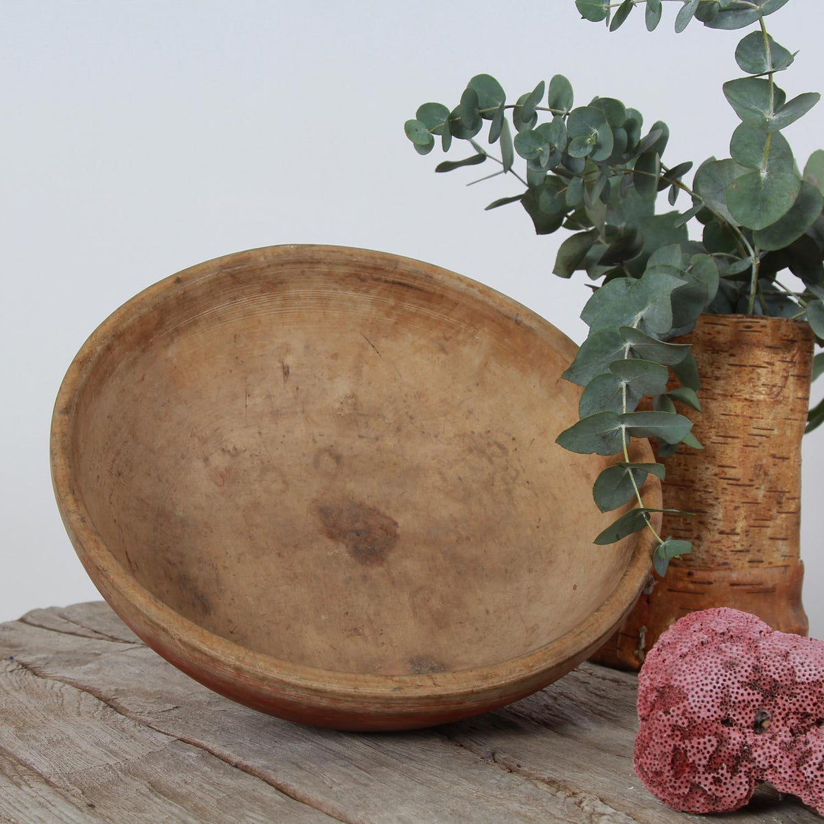 Mid-19th Century Authentic Swedish Turned Wooden Bowl
