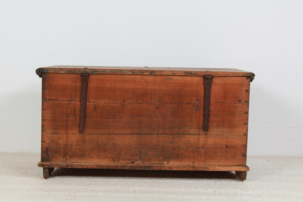 Charming Swedish Hand Painted Dowry Chest Dated 1855