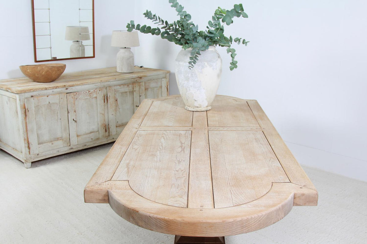 French Early 20thC Bleached Oak Sculptural Dining Table