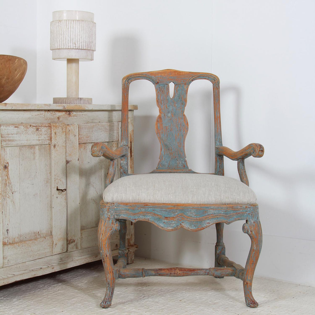 Swedish 18thC  Baroque Armchair with Pale Blue Patina