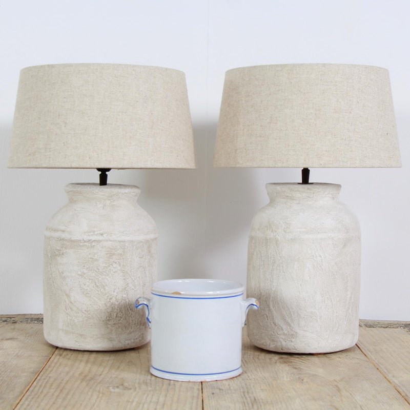 Pair of Stylish Ceramic Lamps with Belgian Linen Shades