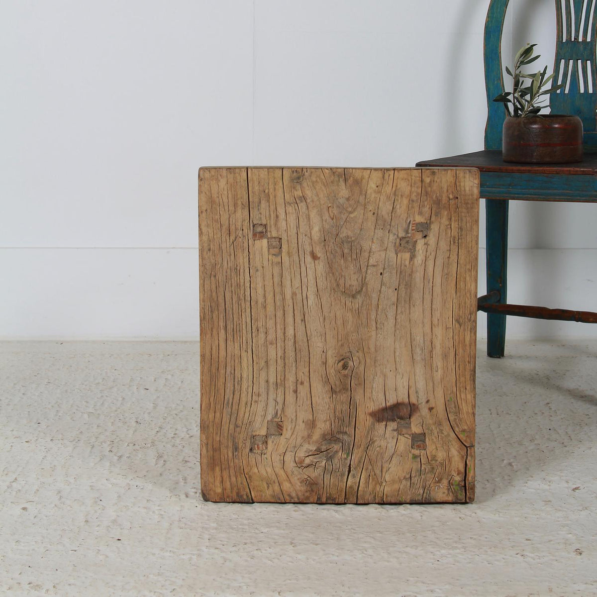Charming Rustic Antique Elm Table Coffee /Side Table
