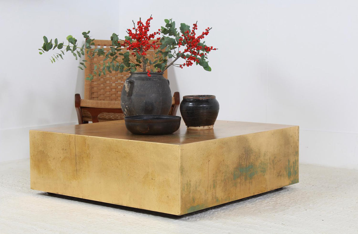 Unique Artisan Gold Leaf Low Cube Coffee Table